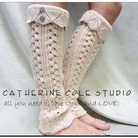 NEW hand knit look knit leg warmers in CAMEL w 2 antique metal lace buttons amazing quality leg warmers Catherine Cole Studio