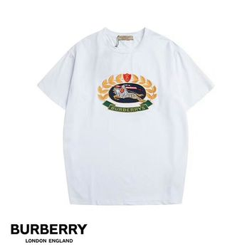 Burberry 2019 early spring new classic embroidery logo men and women round neck short-sleeved T-shirt white