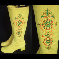 Vintage 1970s boots / 70s bright yellow knee high boots with ethnic embroidery / UK 5 EU 38 US 7