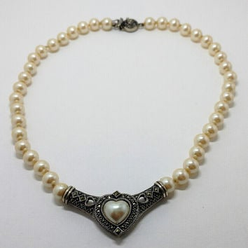 Vintage Judith Jack Sterling Silver & Marcasite Hand Knotted Faux Glass Pearls with a Heart shaped Faux Pearl Necklace 18 inches