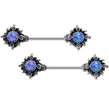 "14 Gauge 5/8"" Purple Synthetic Opal Tribal Sun Barbell Nipple Ring Set"