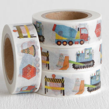 Construction Washi Tape, with Bulldozer, Cement Truck, Stop Sign, Orange Cone, and Sawhorse, DIY Birthday Invite, Boys Birthday Party