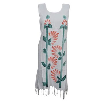 Mogul Boho Shift Dress Tassel Hemline White Sleeveless Summer Dresses - Walmart.com