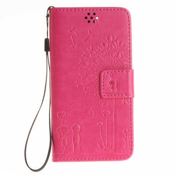 Sweet Cartoon pattern PU leather Wallet flip Case For iPhone soft Silicone back cover