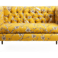 One Kings Lane - Lounge Around - Elizabeth Tufted Settee, Marigold/Brown