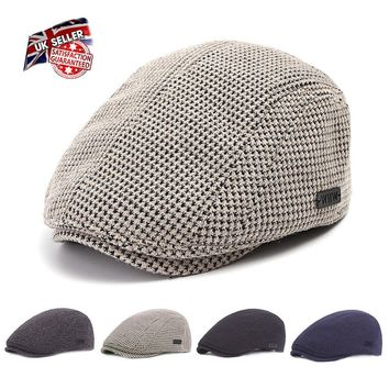 Flat Cap Gatsby Mens Women Headwear Newsboy Hat Taxi driver Beret Warm Uk