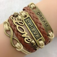 mixed color infinity Antique Charm leather believe dream love Bracelet = 1932244868