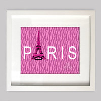 Paris Digital Wall Art  8x10 Perfect French Decor for Girls Room Wall Art, Pink and White with Eiffel Tower, (Digital Download)
