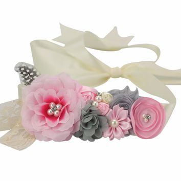 Flower Sash Belt Bridesmaid Maternity Photo Prop Accessories