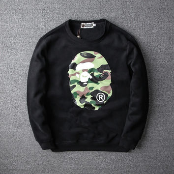 Casual AAPE Fashion Winter Camouflage Print Unisex Round-neck Hoodies [9555842759]