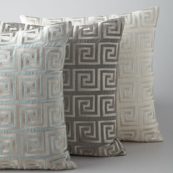 Greek Key Metallic Accent Pillow - Neiman Marcus