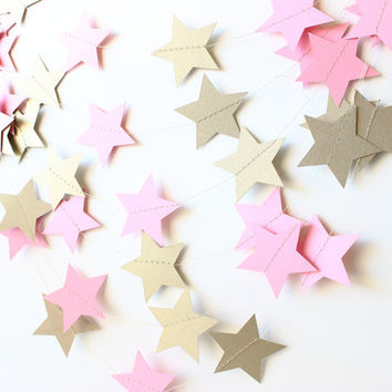 Twinkle Twinkle Little Star Garland, Pink & Gold Baby Girl Shower Decor, Gold Bridal Shower, Gold Birthday Decor, Gold Photo Prop