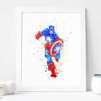 Captain America Print Watercolor Superhero Watercolor Art Illustration Avenger Poster Home Decor Wall Art Print with Frame for Nursery Room