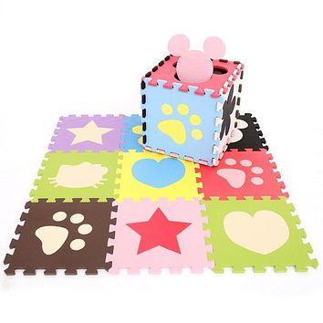 30*30*1cm Cute Heart Cartoon Flower Pattern Baby Mat Puzzle Educational Baby Play+Learning Mat Puzzle Safety Baby Developing Rug