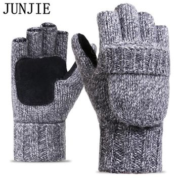 2017 Thick Male Fingerless Gloves Men Wool Winter Warm Exposed Finger Mittens Knitted Warm Flip Half Finger Gloves High Quality
