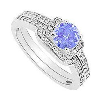 Tanzanite and Diamond Engagement Ring with Wedding Band Set : 14K White Gold - 0.60 CT TGW
