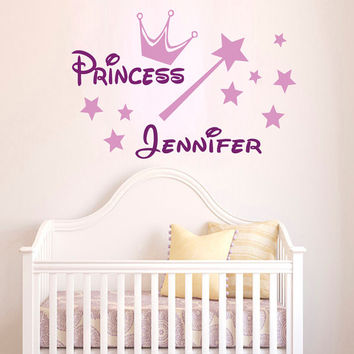 Princess Wall Decals Wording Girl Personalized Name Crown Magic Stick Fairy Dust Home Vinyl Decal Sticker Kids Nursery Baby Room Decor kk794