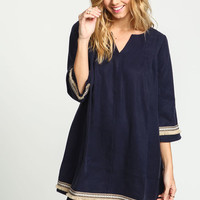 NAVY TASSEL EMBROIDERED BOHO DRESS
