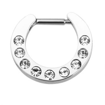 Multi CZ Gem Paved Septum Clicker