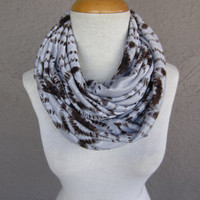 Grey and Brown Infinity Scarf - Oversized Circle Scarf - Heart Print Scarf