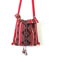 vintage woven ethnic purse tribal across body shoulder purse Hippie Hipster Purse Red Fabric Festival Bag Long Strap Indie Girl Retro Purse