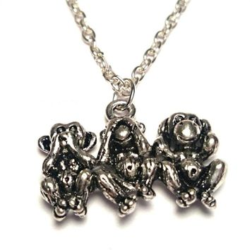 12pcs/lot Three Monkeys necklace Three wise monkeys Charm  pendant See no evil, Three Monkeys Jewelry