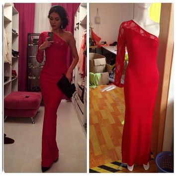On sale custom backless one shoulder long sleeve mermaid sexy lace designer celebrity dress prom gown red evening dresses = 1956802628