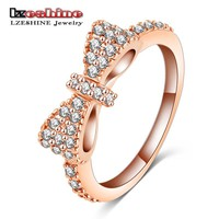 New Arrival Girl's Princess elegant Bow Rings Silver Plated Micro Inlay accessories rings Fine Lovers Jewelry