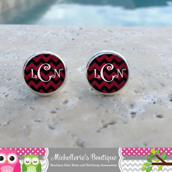 Black  Burgundy Chevron  Monogram Earrings, Monogram Jewelry,Monogram Accessories,Monogram Studs,Monogram Leverbacks,Monogram Gifts under 10
