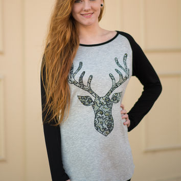 Gold and Lace Reindeer Top
