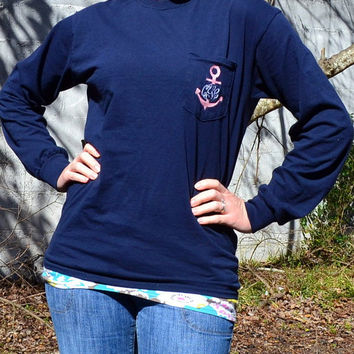 Long Sleeved MONOGRAMMED Anchor Pocket Tee Shirt - Sorority Gift - Greek Lettering - Bridesmaid Gift