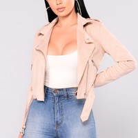 Selfish With You Suede Jacket - Blush