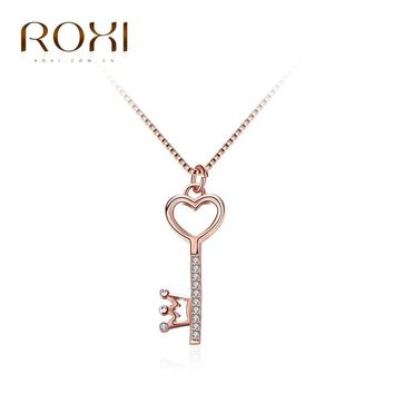 ROXI Fashion Necklace for Women Rose Gold Color Lovely Heart Key Queen Crown Pendant Wedding Gifts Angel Girls Necklace Pendant