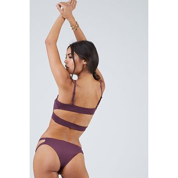 Chloe Double Strap Cut Out Minimal Bikini Bottom - Eggplant Purple
