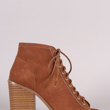 Liliana Perforated Nubuck Chunky Heeled Ankle Boots