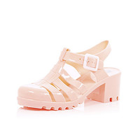 River Island Girls coral heel jelly shoes