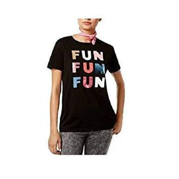 Ban.do Women's Cotton Fun Metallic Graphic T-Shirt Black Medium