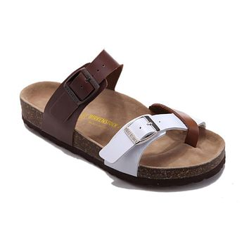 2017 new style birkenstock summer fashion leather cork flats beach lovers slippers casual sandals for women men couples slippers size 36 45 mac591
