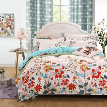3/ 4pcs Moringa bedding set Super king size bed linens reactive printing duvet cover set pastoral stylebedding home textile