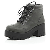 River Island Womens Grey chunky leather-look hiker boots