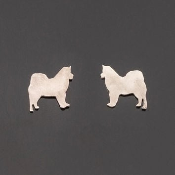 Sterling silver husky post earrings. Dog silhouette earrings. Husky stud earrings. Silver studs. Malamute earrings. Totem jewelry.