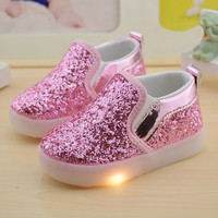 Baby Girls boy LED Light Shoes Toddler Anti-Slip Sports light up shoes Kids Sneakers Sequins Flats children lighting shoes