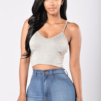 Cutie Pie Crop Top - Grey