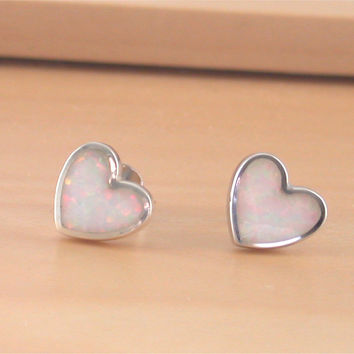 925 Opal Heart Stud Earrings/White Opal Stud Earrings/Opal Jewellery/Opal Jewelry/Silver Heart Earrings/Opal Earrings/October Birthstone/925