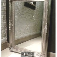 "Orleans Silver Shabby Chic Rectangle Ornate Wall Mirror 45"" x 33"" X Large"