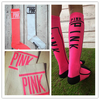 PINK Cotton high quality Skateboard long socks women's football sport KNEE-HIGH socks 1 pair 20 colors