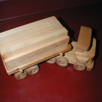 Handmade wooden truck, wooden toy, toy truck, handmade truck, made in the USA