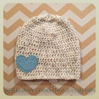 Child Beanie with Blue Felt Heart~Ready to ship~FREE SHIPPING