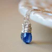 NEW Royal Blue Gemstone Earrings, Kyanite Threaders, Wire Wrapped Teardrops, Simple Sterling Silver Jewelry, Free Shipping
