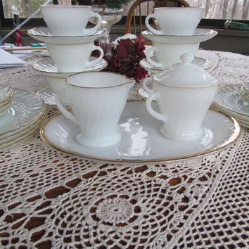 38 pc Milk Glass White Wedding Party Table Decor Tea Cups Fire king Milkglass Bowl Anchor Hocking Fire King Suburbia